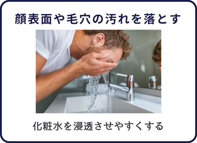 洗顔は顔表面の汚れや毛穴の汚れを落とす