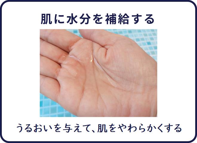 肌の水分補給をし、保湿する